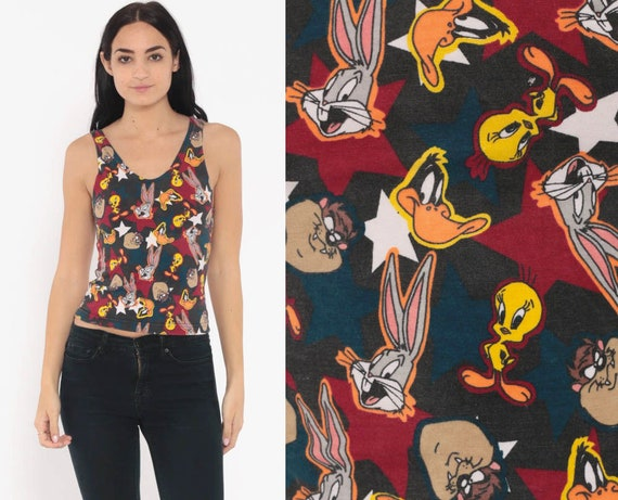 Looney Tunes Shirt All Over Print Warner Bros Tank Top 90s Graphic Retro Tee Tight Body Con 1990s Vintage Warner Bros Extra Small xs xxs