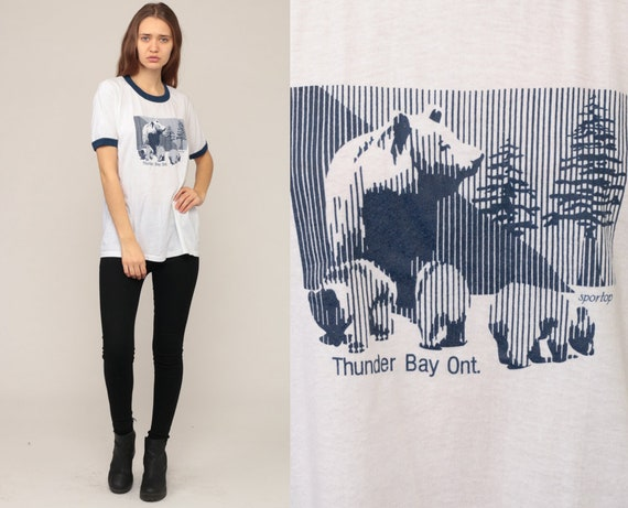 Bear Shirt THUNDER BAY ONTARIO Shirt 80s Ringer Tee Animal TShirt Retro Tee Vintage Graphic 1980s T Shirt Burnout Hipster Large