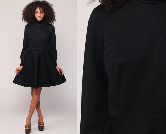 Black Mini Dress 70s Mod Long Sleeve High Neck Turtleneck 1970s Disco LBD Little Black Plain Vintage High Waisted Minidress Medium Large