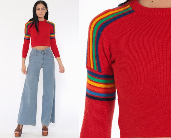 Cropped Rainbow Sweater xs -- 80s Striped Knit Jumper Pullover Ski Crop Meister 1980s Boho Kawaii Vintage Retro Bohemian Extra Small xs
