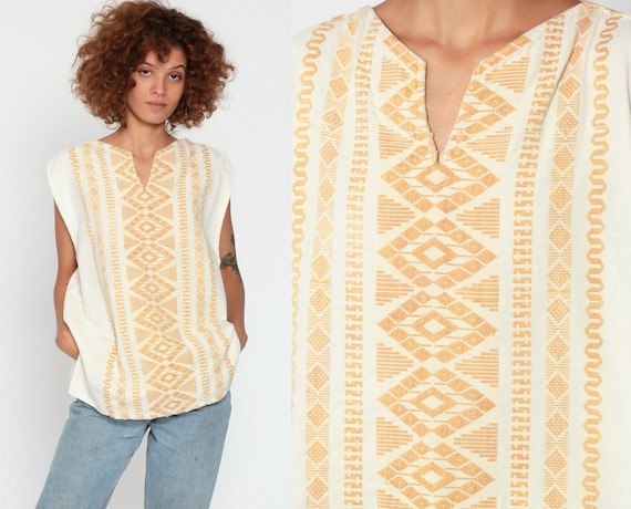 Embroidered Tunic Top Sleeveless Mexican Blouse COTTON Shirt Ethnic Hippie Tribal Boho Off-White AZTEC Bohemian Small Medium