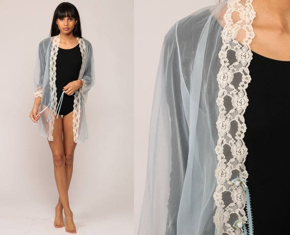 Sheer Robe Lingerie Jacket 70s Pastel Blue LACE Kimono Robe Lingerie Nylon Chiffon Romantic 1970s Vintage Small Medium