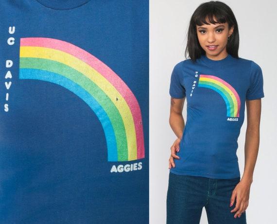 UC Davis Shirt Rainbow University T Shirt 80s Tshirt California Aggies College Blue 70s Shirt Graphic Retro Vintage T Shirt Extra Small xs