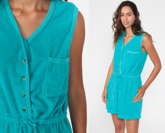 Turquoise Summer Romper 80s TERRY CLOTH Romper Sho