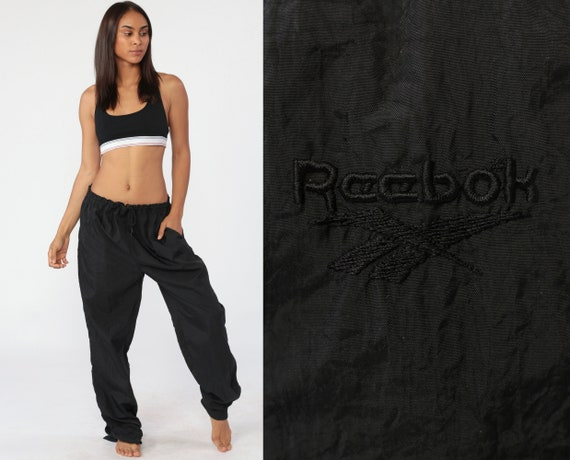Reebok Track Pants 90s Jogging Black Track Suit Streetwear Nylon Athletic Sports Vintage Gym Jogging Running Joggers Large xl