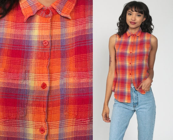 Plaid FLANNEL Shirt Vest 90s PLAID Blouse Sleeveless Flannel Grunge Top 1990s Button Up Lumberjack Vintage Red Orange Small s
