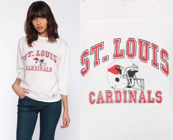Throwback St Louis Cardinals Shirt Football Shirt 80s Graphic Sports Retro Tshirt 1980s Vintage 3/4 Sleeve T Shirt Sports Extra Small xs