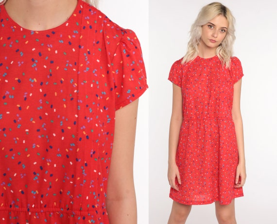 Red Mini Dress 80s PUFF SLEEVE Confetti Print Dress 1980s High Waisted Vintage Slouchy 1980s Secretary Slouch Minidress Small Medium