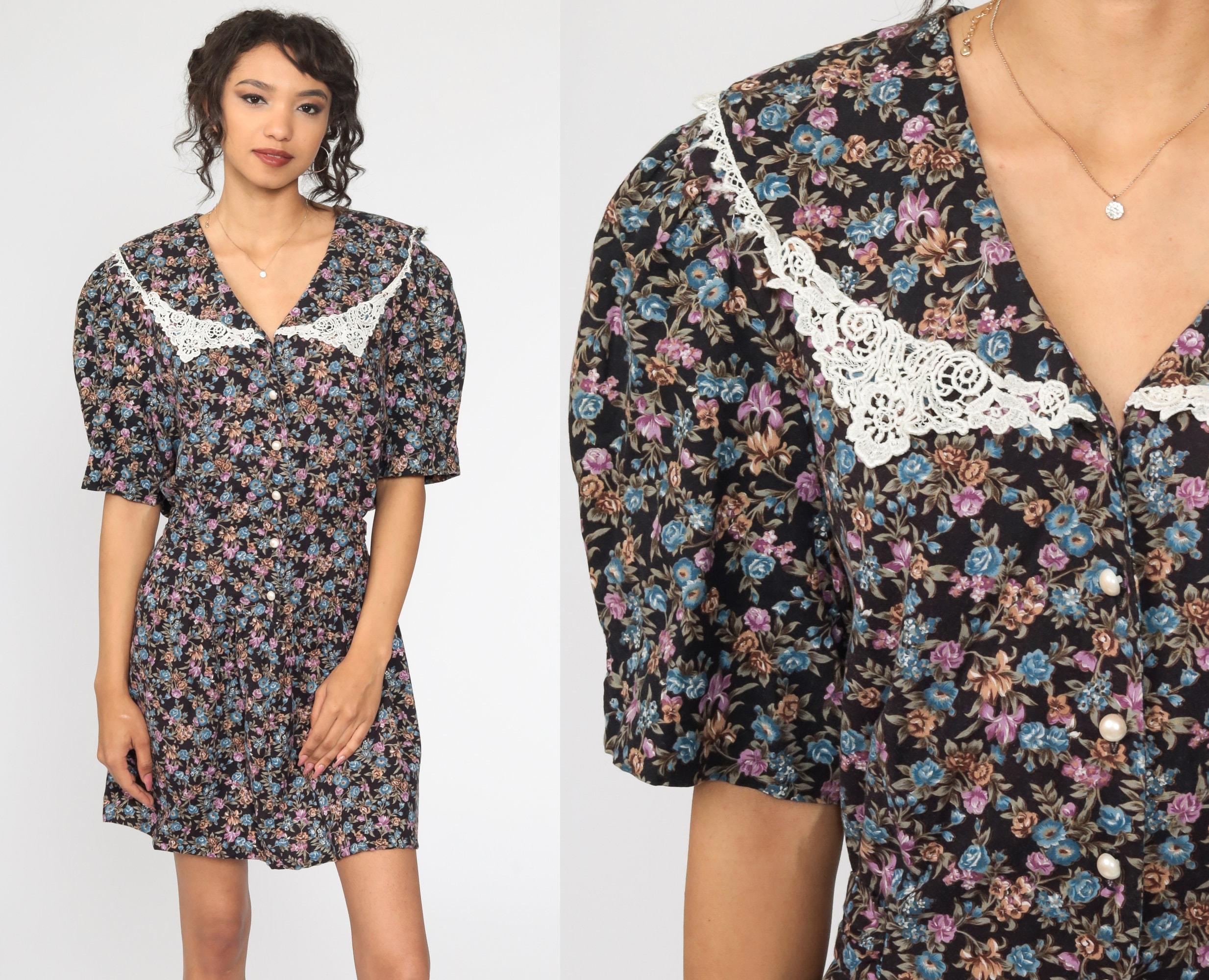 Vintage 80/'s White Floral Print Lace Collar