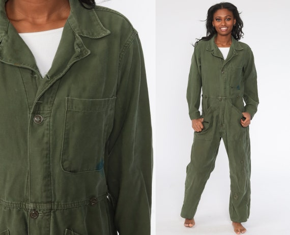 Flight Suit Military Jumpsuit Army Coveralls Distressed Boilersuit Grunge Pantsuit Cotton Vintage Long Sleeve Olive Green Medium Large