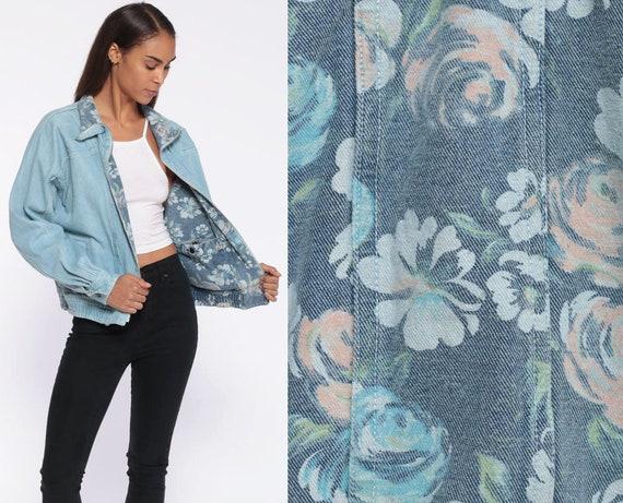 REVERSIBLE Denim Jacket -- 90s Floral Denim Jean Jacket Floral Jacket Blue GRUNGE Full Zip 80s Blue Denim Large
