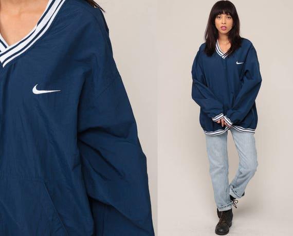 Nike Jacket 90s Windbreaker Jacket PULLOVER Jacket Warm Up Nylon Shell Jacket V Neck Blue Athletic Sports Jogging Vintage Extra Large xl 2xl