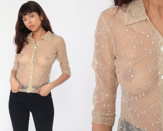 Embroidered Mesh Top Y2K Shirt Sheer Lace Blouse 90s Boho Hippie Shirt Grunge 1990s Button Up Nude Tan Shirt Dreamy Romantic Mesh Small