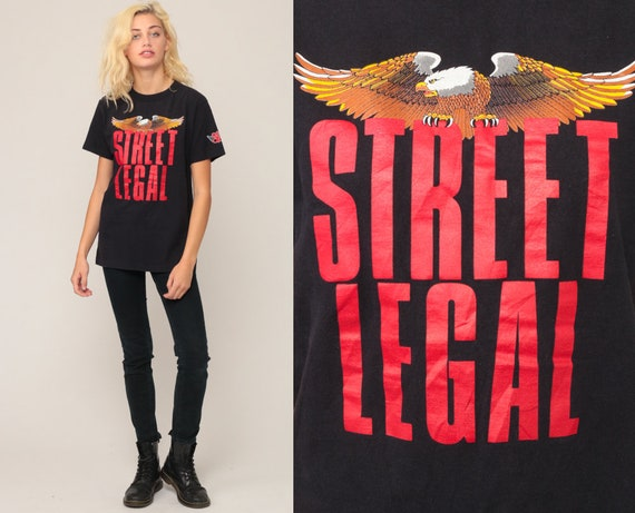 Biker Shirt STREET LEGAL Shirt Eagle TShirt Motorcycle T Shirt Tee Graphic Tshirt Hipster Retro Medium Large