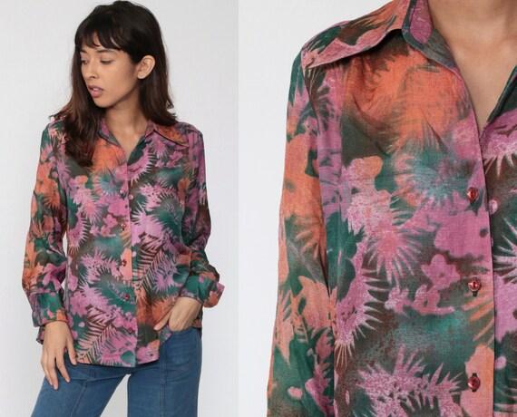 Purple Floral Blouse 70s Boho Top Button Up Shirt Bohemian Long Sleeve Jungle Shirt 1970s Vintage Boho Hippie Tropical Green Medium