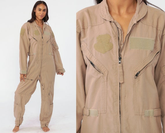 Flight Jumpsuit 38 R Flyers Coveralls Military Suit Army Coveralls Zip Up Pantsuit Aramid Vintage Long Sleeve Romper Khaki Medium 38 R
