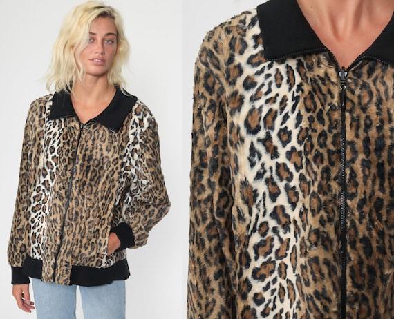 Faux Fur Coat Reversible Fake Fur Jacket LEOPARD P