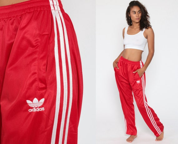 ADIDAS Track Pants 80s Gym Jogging Running Red White Striped Track Suit 1980s Sportswear Vintage Retro Streetwear Small Medium