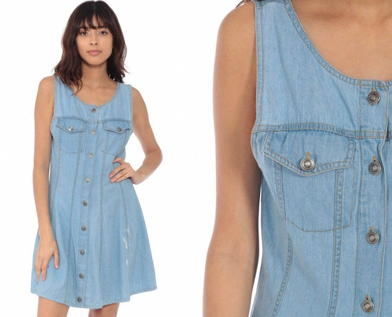 Denim Sundress Jean Dress 90s Mini Jumper Distressed Button Up Summer 1990s Grunge Normcore Blue Vintage Minidress Sleeveless Small
