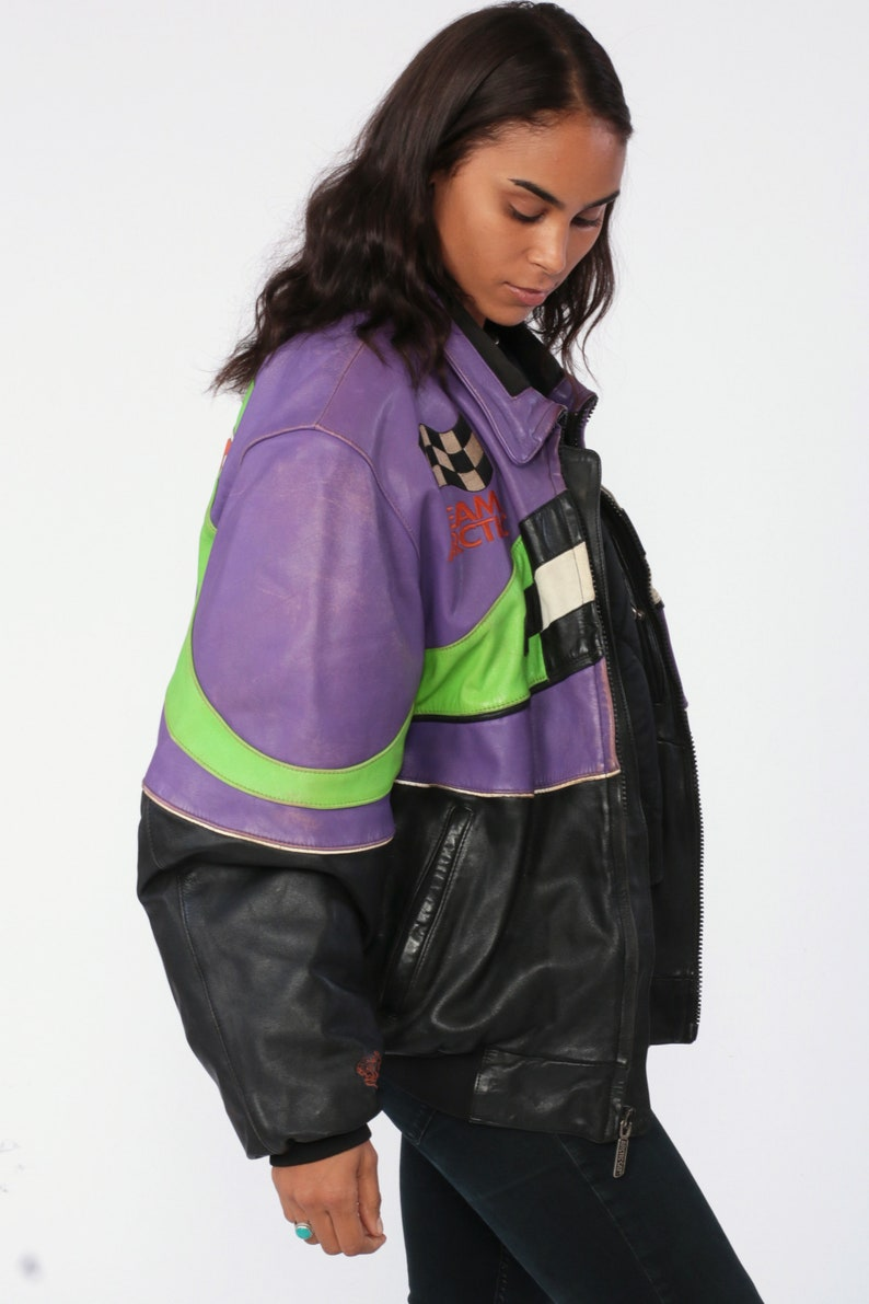 Leather Arctic Cat Jacket Neon Racing Jacket Moto Zip Up Jacket Motorcycle Jacket Black 90s Striped Retro Vintage Black Purple Green Large