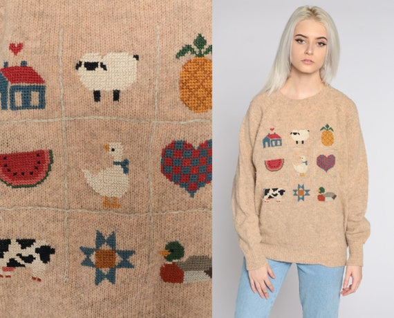 Farm Animal Sweater 80s Cow Sweater Vintage Pineapple Fruit Sweater WOOL Novelty Knit Pullover Jumper Kawaii Boho 1980s Sweater Large L