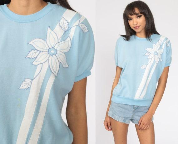 80s Floral Shirt Baby Blue Short Sleeve Sweatshirt Slouchy Sweatshirt Retro 1980s Top Vintage Striped Embroidered Top Medium