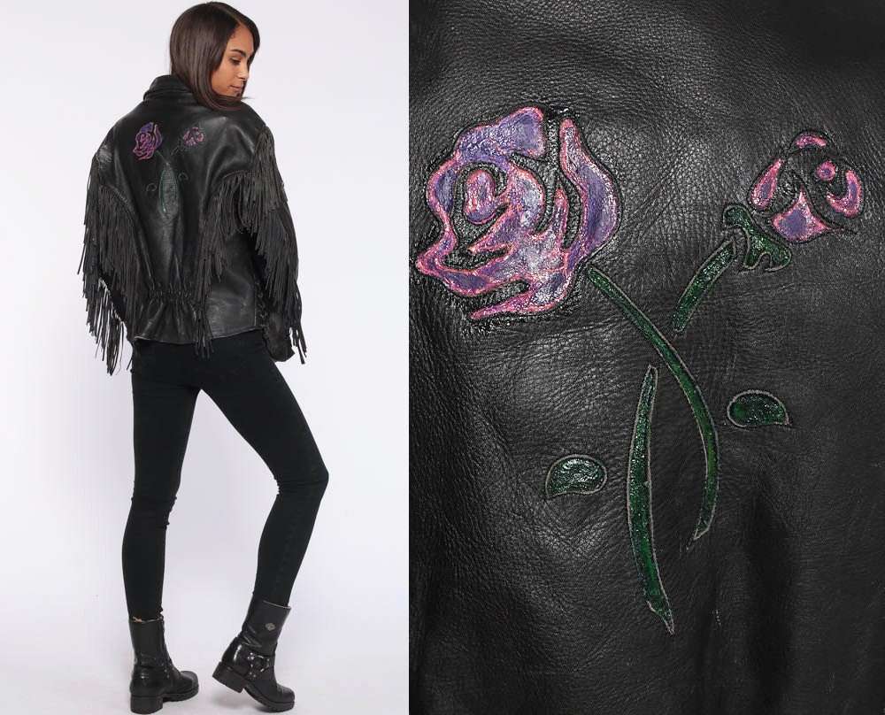 XSS Women/'s Vintage Rose Black Leather Fringe Jacket