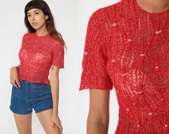 Short Sleeve Sweater Top Red Sheer Textured Shirt Knit 70s Sweater Retro Top Boho Hippie 1970s Top Vintage Bohemian Small xs s
