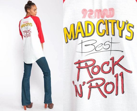 Madison Wisconsin Shirt 92 MAD FM Retro TShirt 80s Mad City Graphic Shirt Vintage T Shirt Long Sleeve Raglan Tee Rock n Roll Medium Large