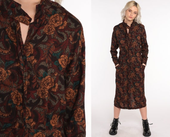 80s Floral Dress Midi Brown Wiggle Dress Boho Long Sleeve Pencil Vintage 1980s High Waisted Bohemian Keyhole Medium 8