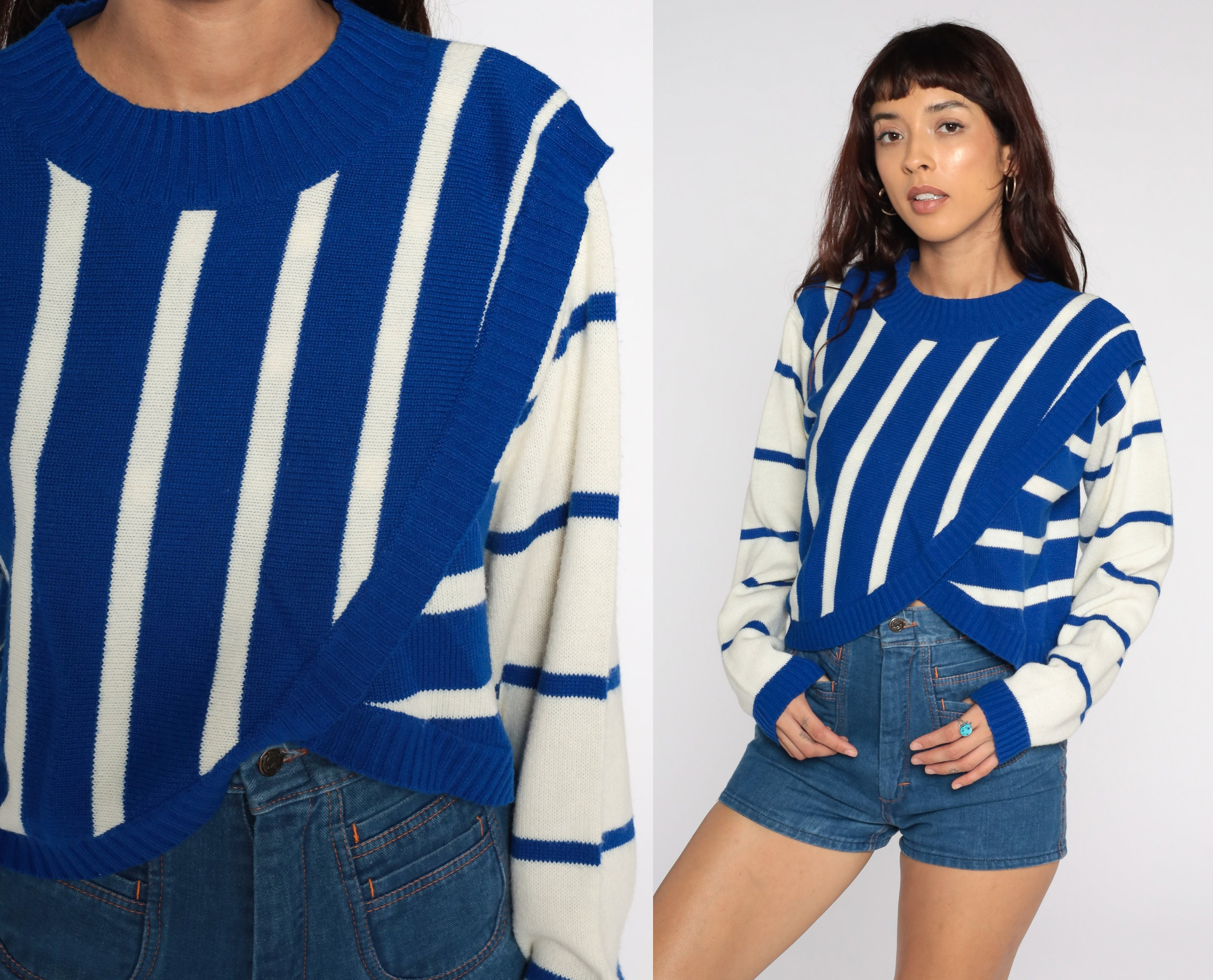 80s Sweatshirts, Sweaters, Vests | Women striped Cropped Sweater 80S Knit Royal Blue White Slouch Short 1980S Jumper Vintage Pullover Retro Small S $44.00 AT vintagedancer.com