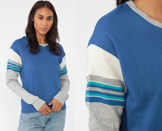 Blue V Neck Sweatshirt STRIPED Ringer Shirt 80s Sweater Pullover Grey Stranger Things Slouchy Sports 1980s Vintage Retro Extra Small xs