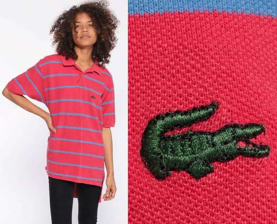 80s LACOSTE Polo Shirt -- Faded Red Striped Shirt Half Button Up Shirt Collared Blue Stripes 1980s Short Sleeve Crocodile Small Medium