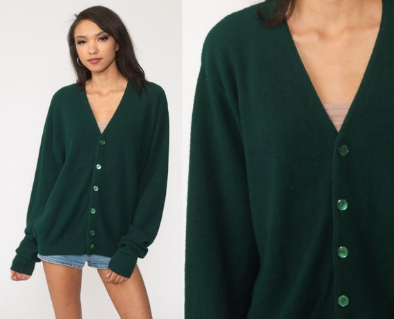 Plain Green Sweater -- 80s Cardigan Button Up Grunge Grandpa Slouchy Boho Vintage 70s Retro Nerd Bohemian Plain Large