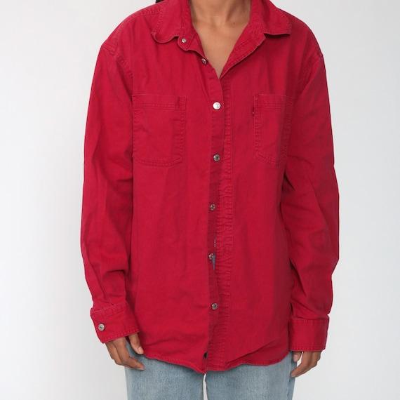 LEVIS Shirt Red 90s Button Down Shirt up Levi Jea… - image 7
