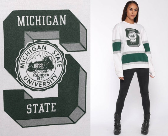 Michigan State Sweatshirt SPARTANS University 90s College FOOTBALL Shirt Baggy Jumper 1990s Sport Vintage Green White Medium Large