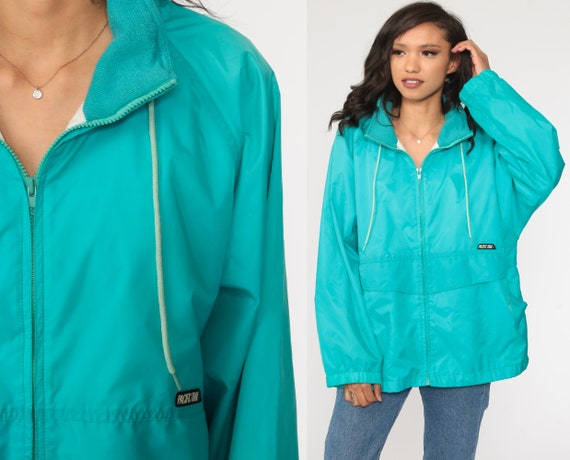 Turquoise Windbreaker Jacket 90s Blue Jacket Pacific Trail Jacket Retro Zip Up 1990s Bright Surfer Zip Up Large xl
