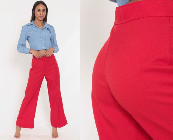 Bell Bottoms Pants 26 -- 70s Boho Hippie Bellbottom Red Polyester Gaberdine Trousers High Waist 1970s Vintage Bohemian Trousers Small