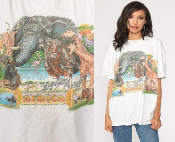 African Safari Tshirt Animal T Shirt 90s Lion Shirt Elephant Shirt Jungle Tshirt Graphic Retro T Shirt Vintage Extra Large xl