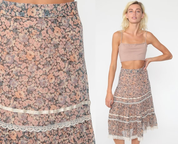Floral Midi Skirt 70s Boho High Waisted Pink Prairie Skirt LACE TRIM 1970s Bohemian Hippie Festival Vintage Cottagecore Extra Small xs