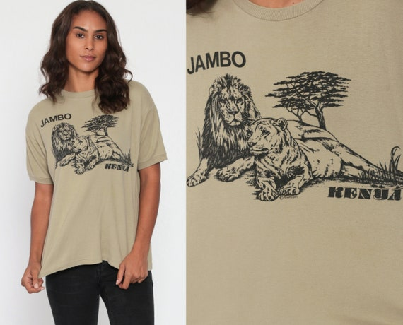 Jambo Kenya Shirt Lion TShirt Africa Safari Animal Shirt 80s Graphic Tee Retro Screen Print Big Cat Vintage 1980s Small Medium