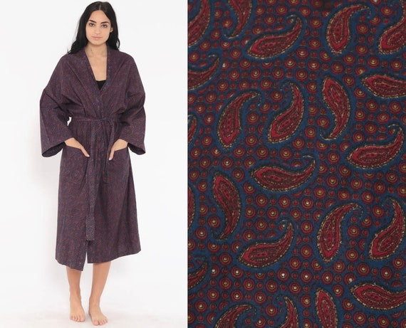 Paisley Robe Jacket Cotton 90s Bohemian Wrap Vintage Blue Belted 80s Boho Hippie Festival Red Dressing Gown  Small Medium Large