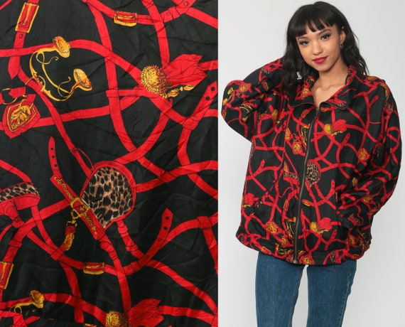 90s Silk Windbreaker Black BAROQUE Jacket 80s Coat Slouchy Bomber Jacket Red Oversized Hipster Vintage 1980s Retro Gold Print Extra Large xl