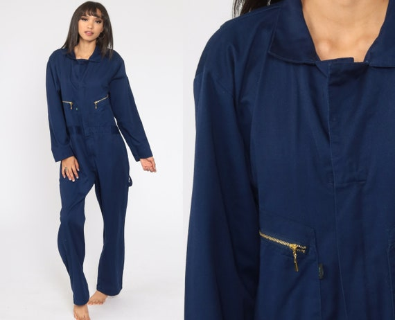 Navy Boiler Suit Small R 90s Coveralls Pants Jumpsuit Long sleeve Boilersuit Workwear Coverall Blue One Piece Work Wear Vintage Mechanic