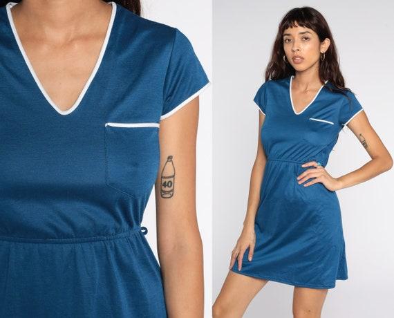 70s Ringer Dress Blue Mini Dress Short Sleeve 80s High Waist Vintage V Neck Pocket Dress Small S