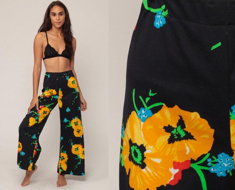 3c9c9217367 Bell Bottom Pants Floral Pants Wide Leg Pants PALAZZO Pants