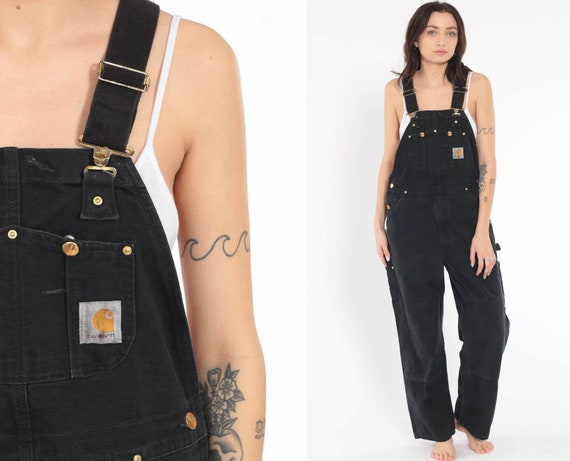 Black Carhartt Overalls -- Baggy Pants Workwear Cargo Dungarees Bib Coveralls Pants Work Wear Long Wide Leg Jeans Vintage Medium