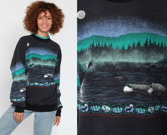 90s Loon Sweatshirt Deer Animal Sweater 80s Moon Bird Duck Jumper Slouchy Sweat Shirt Duck 1990s Night Sky Pullover Vintage Medium Large