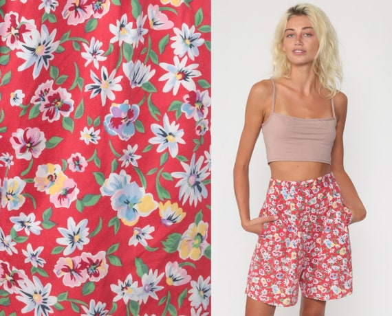 Red Floral Shorts -- 90s Mom Shorts Bermuda High Waisted Retro Trouser Baggy 80s Cotton Vintage Pink Small 4