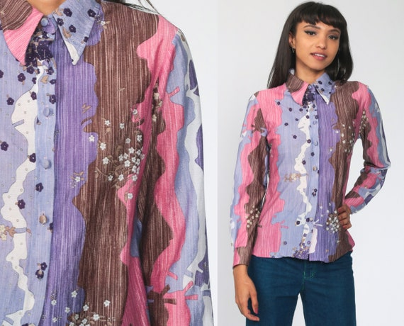 Purple Floral Shirt Boho Blouse 70s Floral Top Psychedelic Shirt Hippie Disco 1970s Bohemian Button Up Vintage Long Sleeve Small Medium